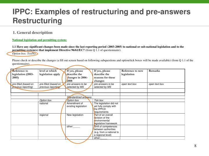 IPPC: Examples of restructuring and pre-answers Restructuring