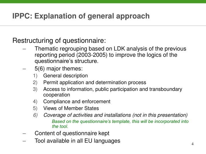 IPPC: Explanation of general approach