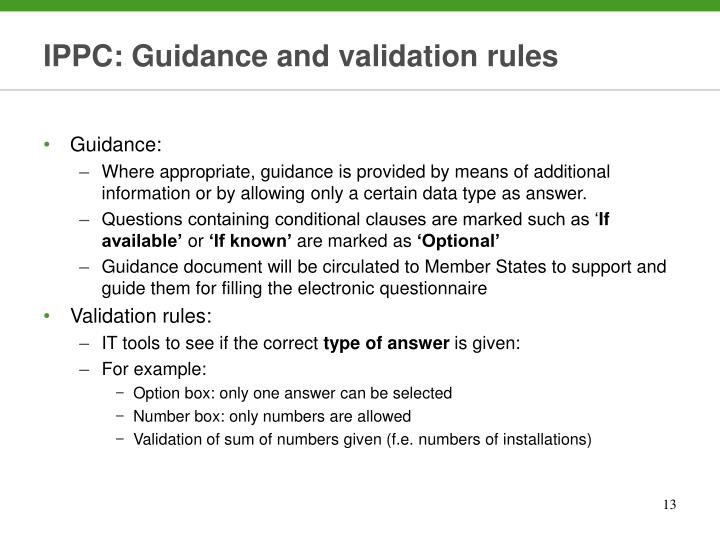 IPPC: Guidance and validation rules