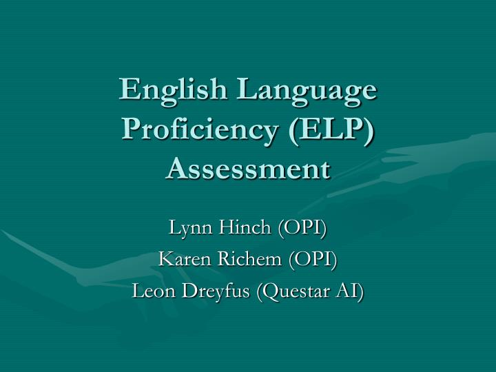 english language proficiency elp assessment