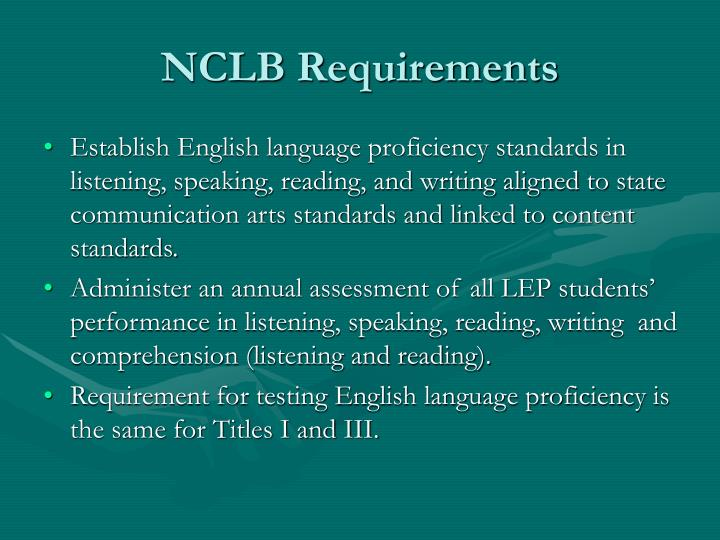 Nclb requirements