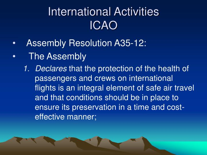International activities icao