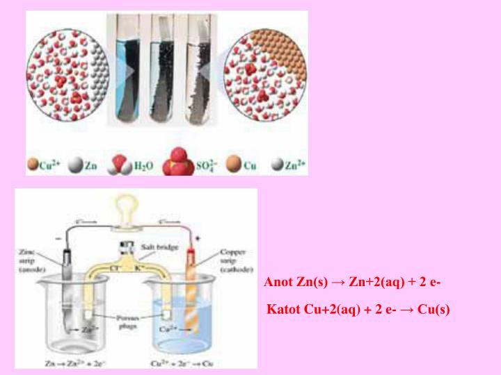 Anot Zn(s) → Zn+2(aq) + 2 e-