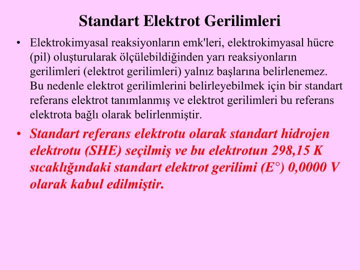 Standart Elektrot Gerilimleri