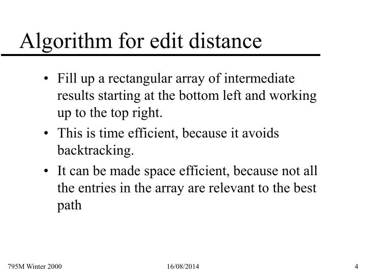 Algorithm for edit distance