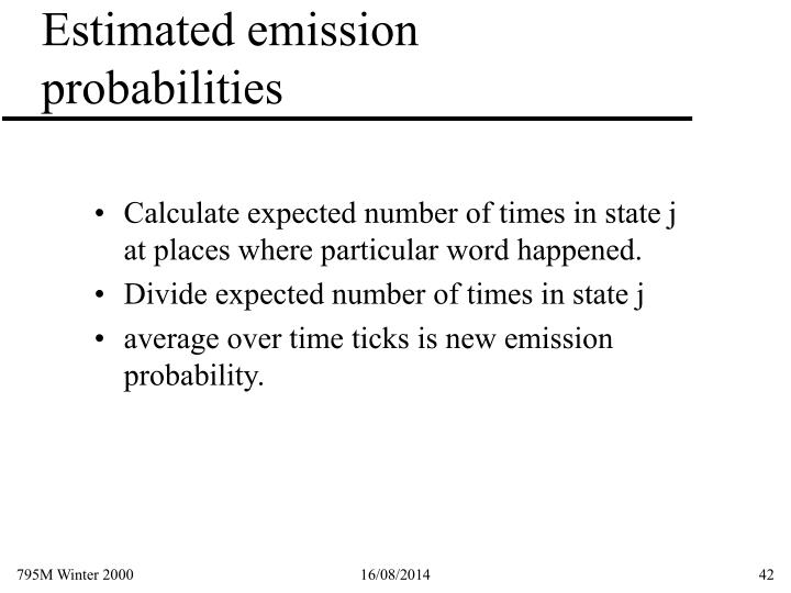 Estimated emission probabilities