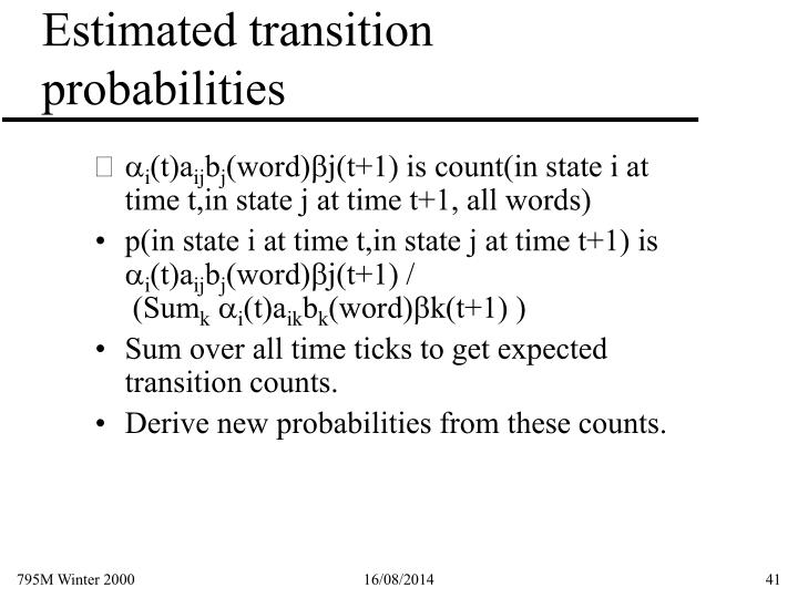 Estimated transition probabilities