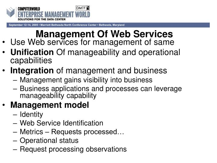 Management Of Web Services