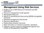 management using web services
