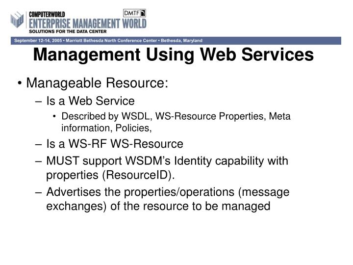 Management Using Web Services