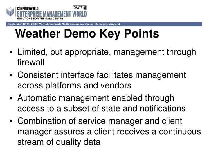 Weather Demo Key Points