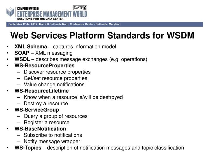Web Services Platform Standards for WSDM
