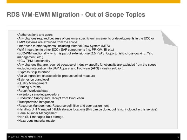 RDS WM-EWM Migration - Out of Scope Topics