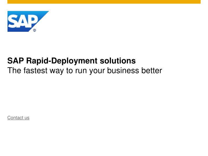 SAP Rapid-Deployment solutions
