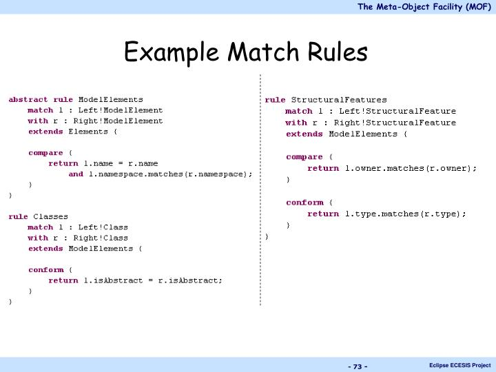 Example Match Rules