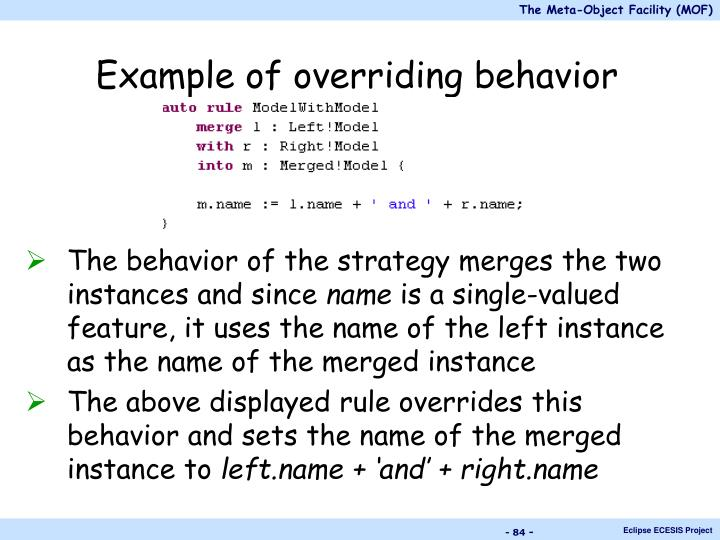 Example of overriding behavior