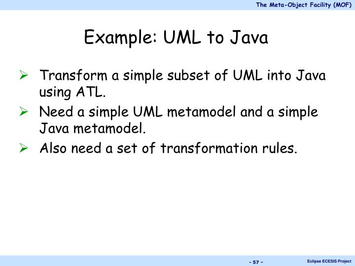 Example: UML to Java