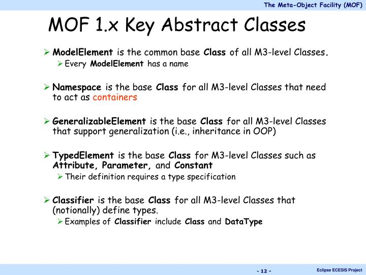 MOF 1.x Key Abstract Classes