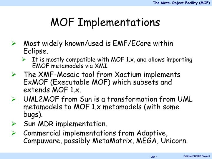 MOF Implementations