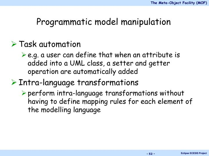 Programmatic model manipulation