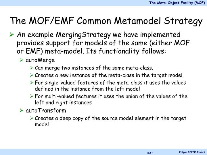 The MOF/EMF Common Metamodel Strategy