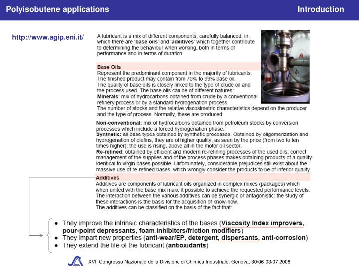 Polyisobutene applications