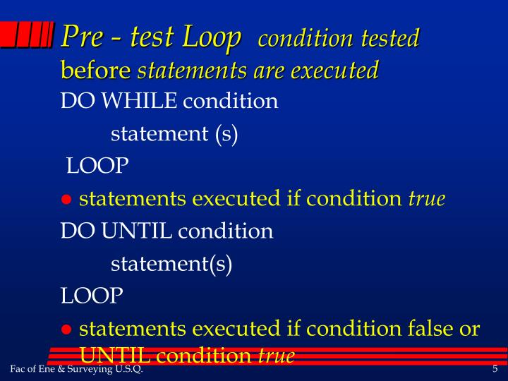 Pre - test Loop