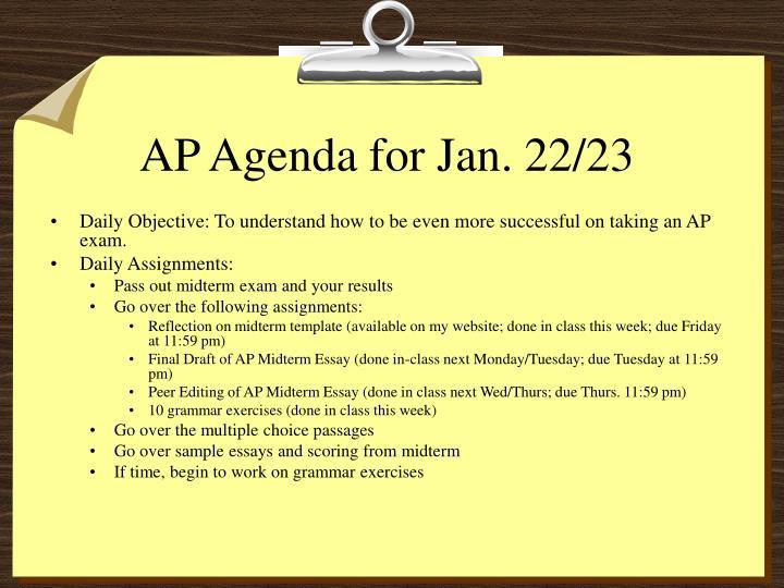 AP Agenda for Jan. 22/23