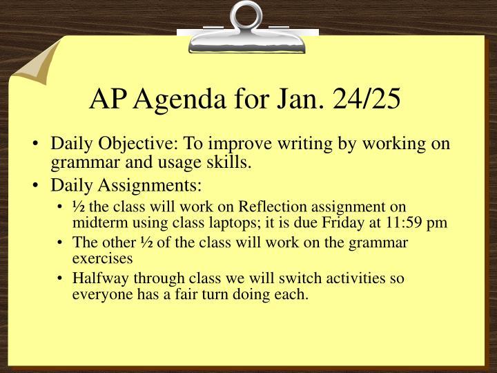 AP Agenda for Jan. 24/25