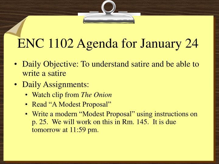 ENC 1102 Agenda for January 24