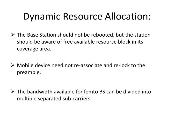 Dynamic Resource Allocation: