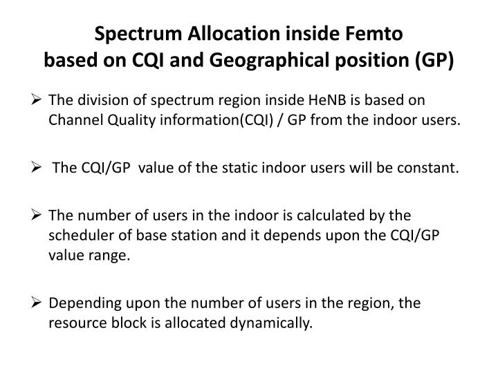 Spectrum Allocation inside Femto