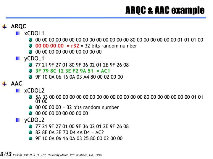 ARQC & AAC example