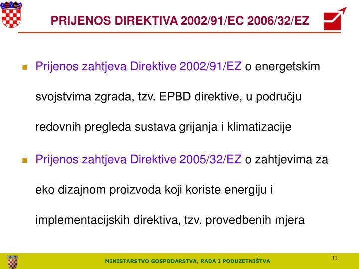 PRIJENOS DIREKTIVA 2002/91/EC 2006/32/EZ