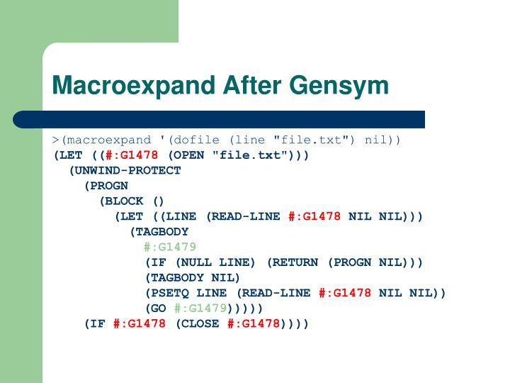 Macroexpand After Gensym