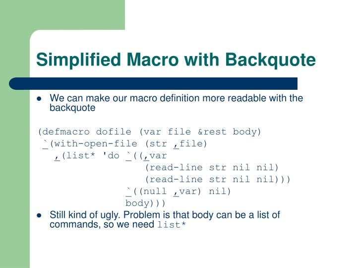 Simplified Macro with Backquote