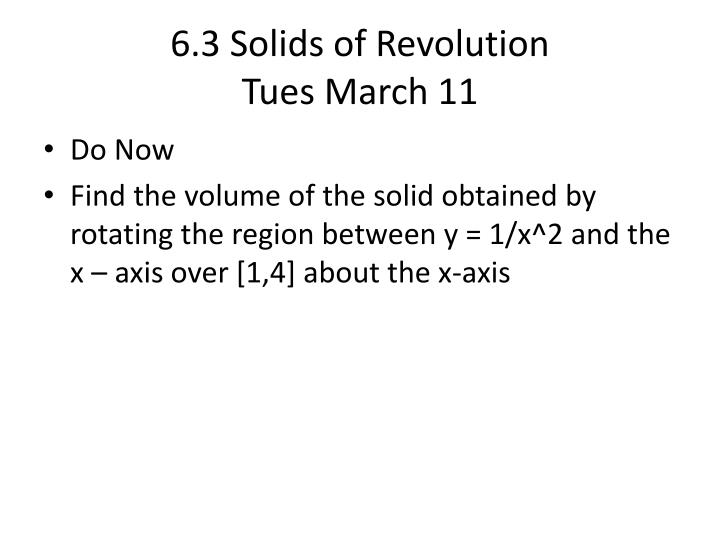 6.3 Solids of Revolution