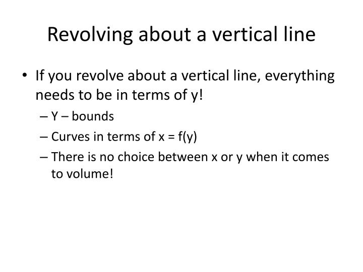 Revolving about a vertical line
