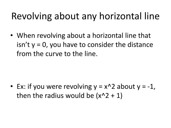 Revolving about any horizontal line