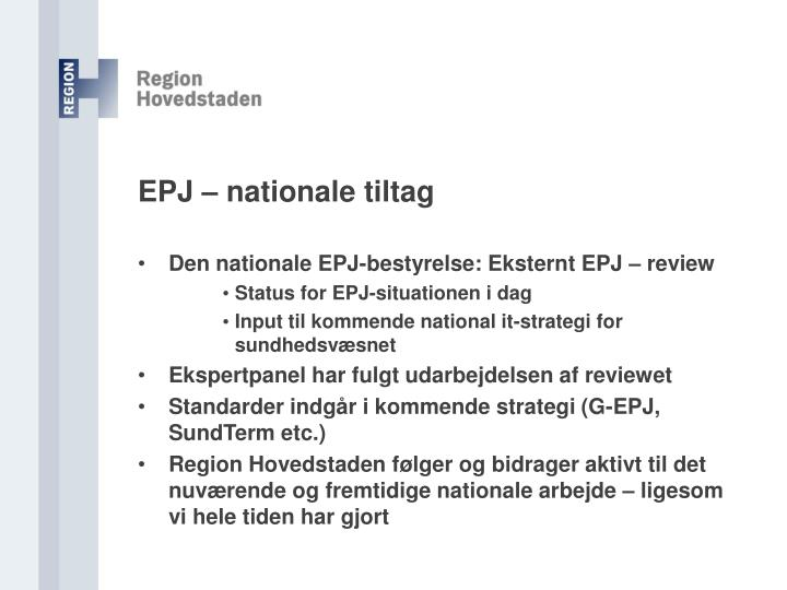EPJ – nationale tiltag