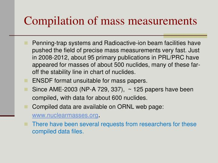 Compilation of mass measurements