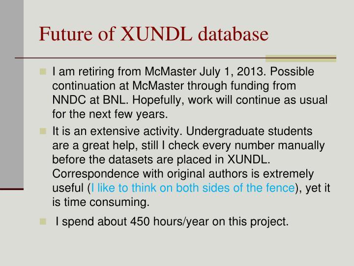 Future of XUNDL database