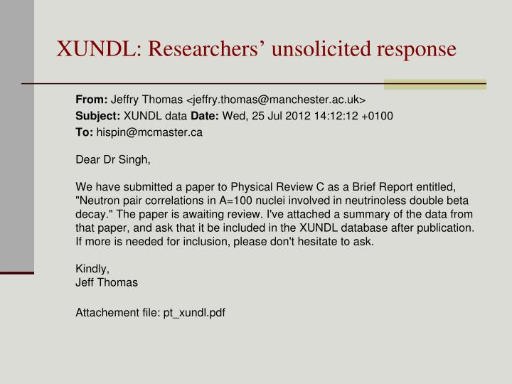 XUNDL: Researchers' unsolicited response