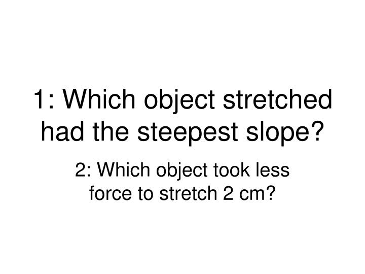 1: Which object stretched had the steepest slope?