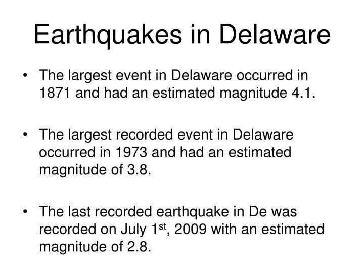 Earthquakes in Delaware