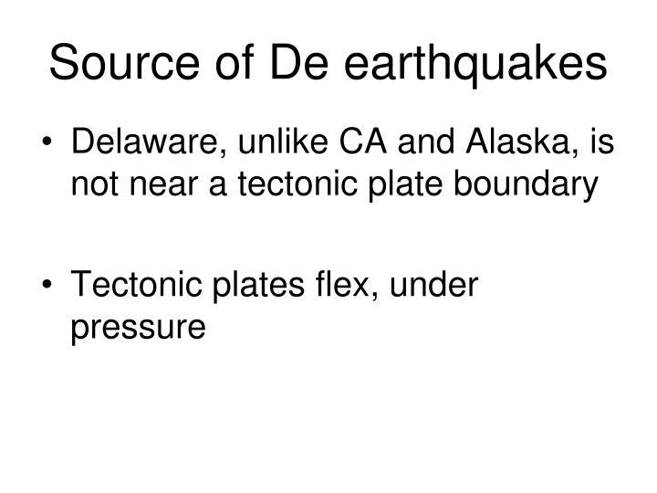 Source of De earthquakes