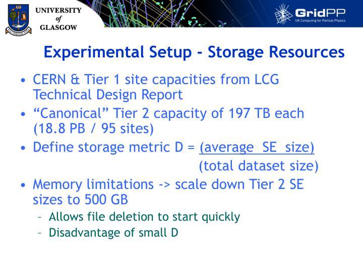 Experimental Setup - Storage Resources