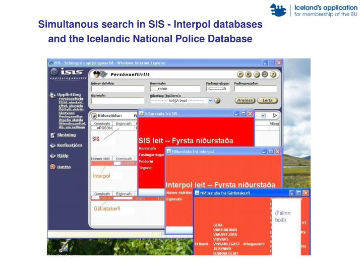 Simultanous search in SIS - Interpol databases