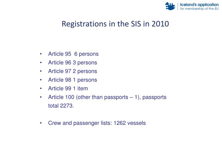 Registrations in the SIS in 2010