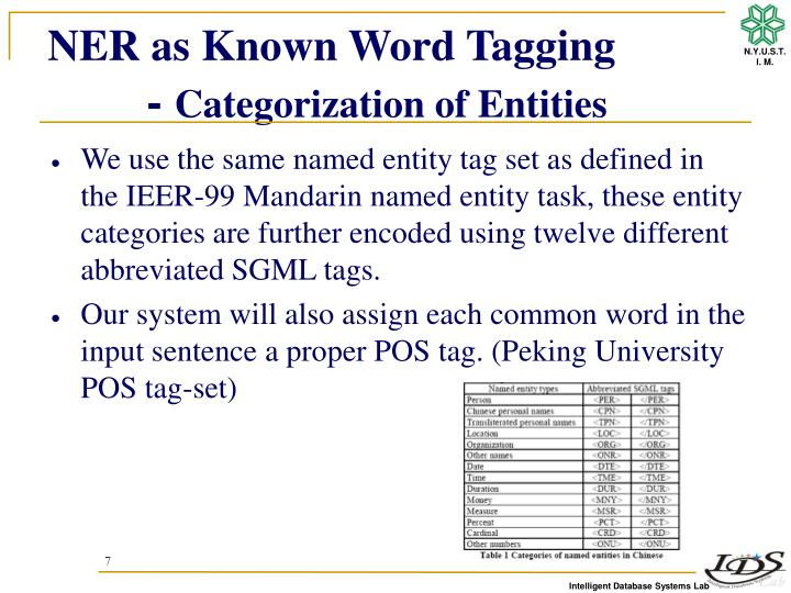 NER as Known Word Tagging